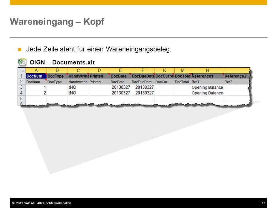 ©2013 SAP AG. Alle Rechte vorbehalten.17 Wareneingang – Kopf Jede Zeile steht für einen Wareneingangsbeleg. OIGN – Documents.xlt