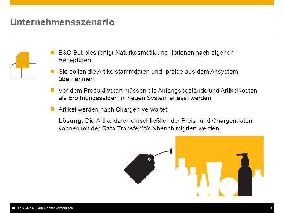 ©2013 SAP AG. Alle Rechte vorbehalten.3 B&C Bubbles fertigt Naturkosmetik und -lotionen nach eigenen Rezepturen. Sie sollen die Artikelstammdaten und