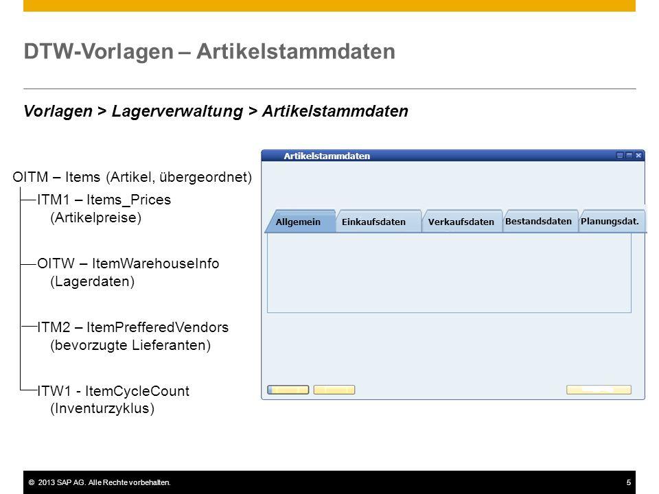 ©2013 SAP AG. Alle Rechte vorbehalten.5 DTW-Vorlagen – Artikelstammdaten Artikelstammdaten AllgemeinEinkaufsdaten Verkaufsdaten Bestandsdaten Planungs