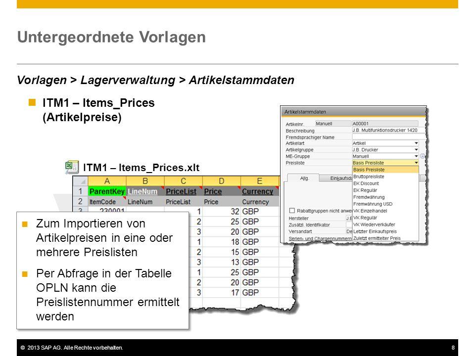 ©2013 SAP AG. Alle Rechte vorbehalten.8 ITM1 – Items_Prices (Artikelpreise) Untergeordnete Vorlagen ITM1 – Items_Prices.xlt Vorlagen > Lagerverwaltung