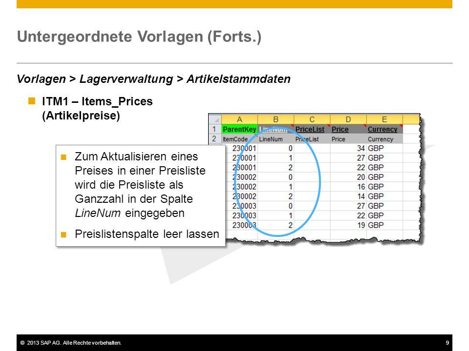 ©2013 SAP AG. Alle Rechte vorbehalten.9 ITM1 – Items_Prices (Artikelpreise) Untergeordnete Vorlagen (Forts.) Vorlagen > Lagerverwaltung > Artikelstamm