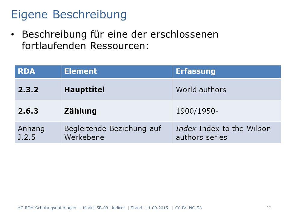 AG RDA Schulungsunterlagen – Modul 5B.03: Indices | Stand: 11.09.2015 | CC BY-NC-SA 12 RDAElementErfassung 2.3.2HaupttitelWorld authors 2.6.3Zählung19