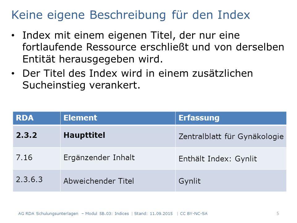 Keine eigene Beschreibung für den Index Index mit einem eigenen Titel, der nur eine fortlaufende Ressource erschließt und von derselben Entität heraus