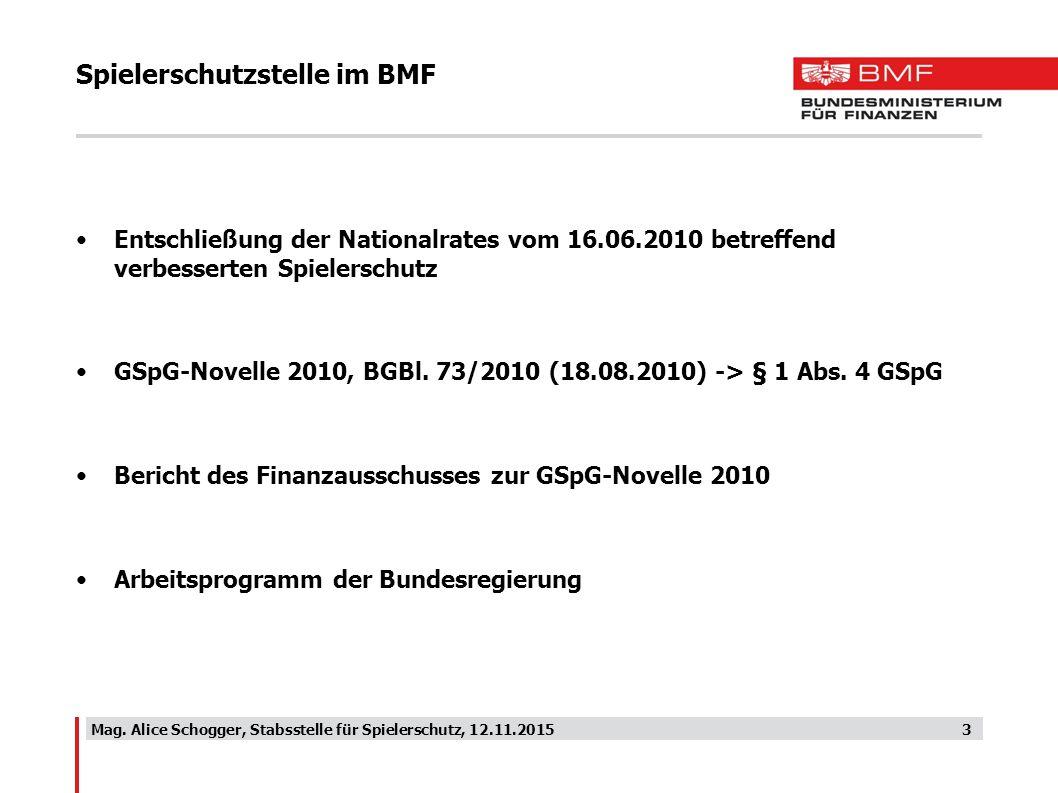 Spielerschutzstelle im BMF Entschließung der Nationalrates vom 16.06.2010 betreffend verbesserten Spielerschutz GSpG-Novelle 2010, BGBl. 73/2010 (18.0