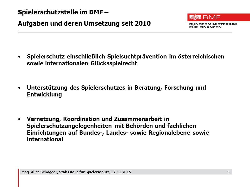 Spielerschutzstelle im BMF – Aufgaben und deren Umsetzung seit 2010 Spielerschutz einschließlich Spielsuchtprävention im österreichischen sowie intern