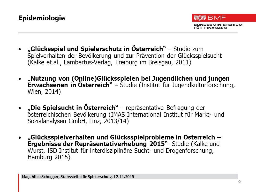 """Epidemiologie """"Glücksspiel und Spielerschutz in Österreich"""" – Studie zum Spielverhalten der Bevölkerung und zur Prävention der Glücksspielsucht (Kalke"""