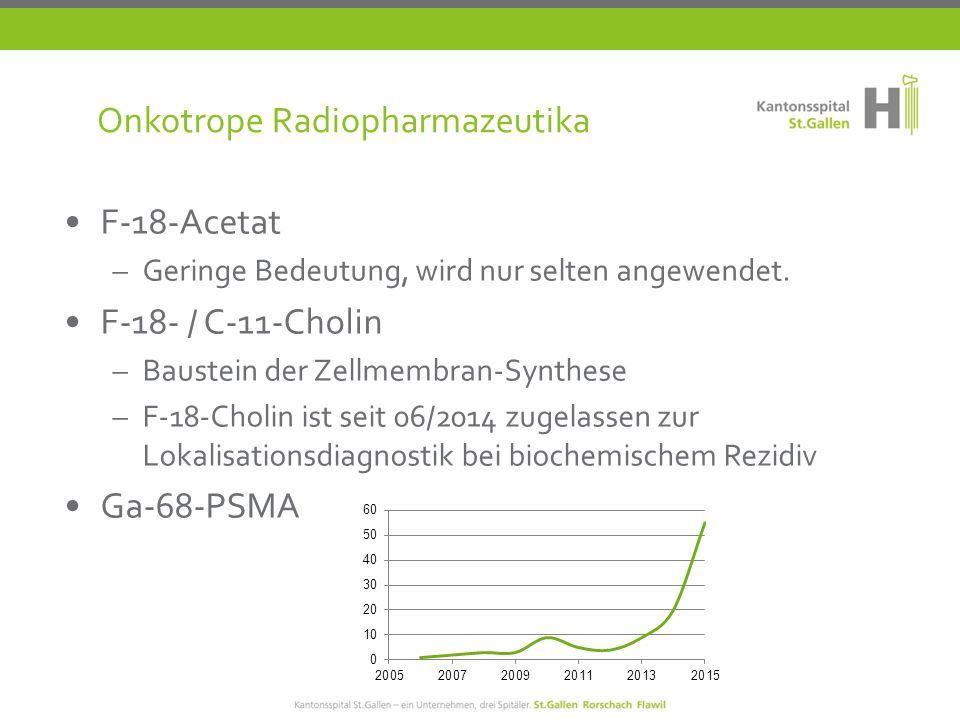 Onkotrope Radiopharmazeutika F-18-Acetat –Geringe Bedeutung, wird nur selten angewendet.