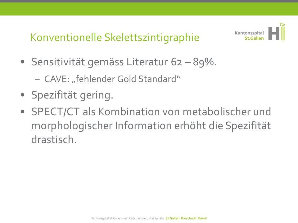 F-18-Cholin PET/CT Sensitivität gemäss Literatur: 84 % (Skelettszintigraphie: 62 – 89 %) Spezifität 98 %.