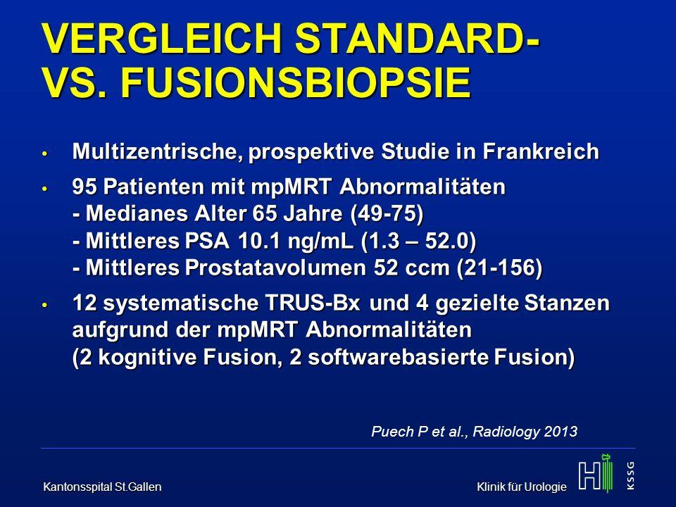 Kantonsspital St.Gallen Klinik für Urologie VERGLEICH STANDARD- VS. FUSIONSBIOPSIE Multizentrische, prospektive Studie in Frankreich Multizentrische,
