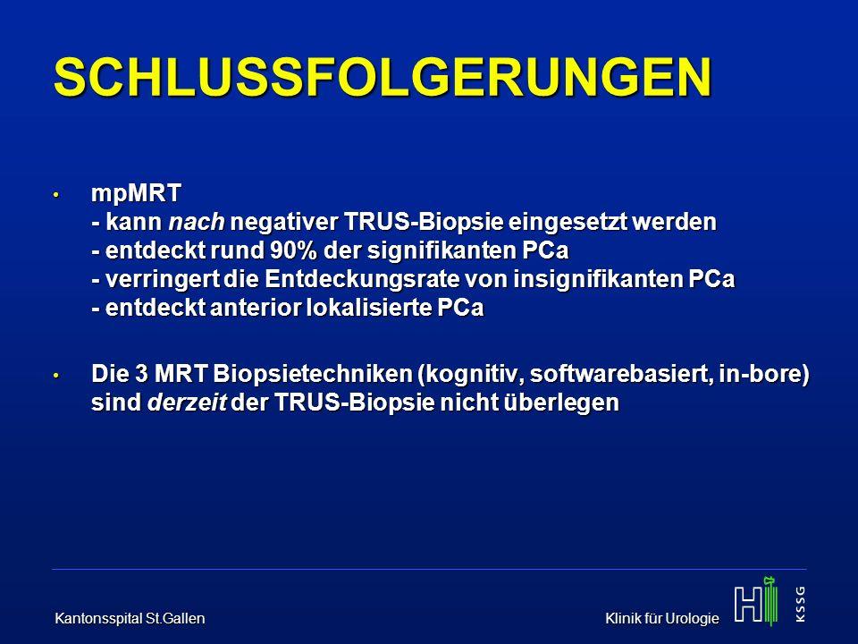 Kantonsspital St.Gallen Klinik für Urologie SCHLUSSFOLGERUNGEN mpMRT - kann nach negativer TRUS-Biopsie eingesetzt werden - entdeckt rund 90% der sign