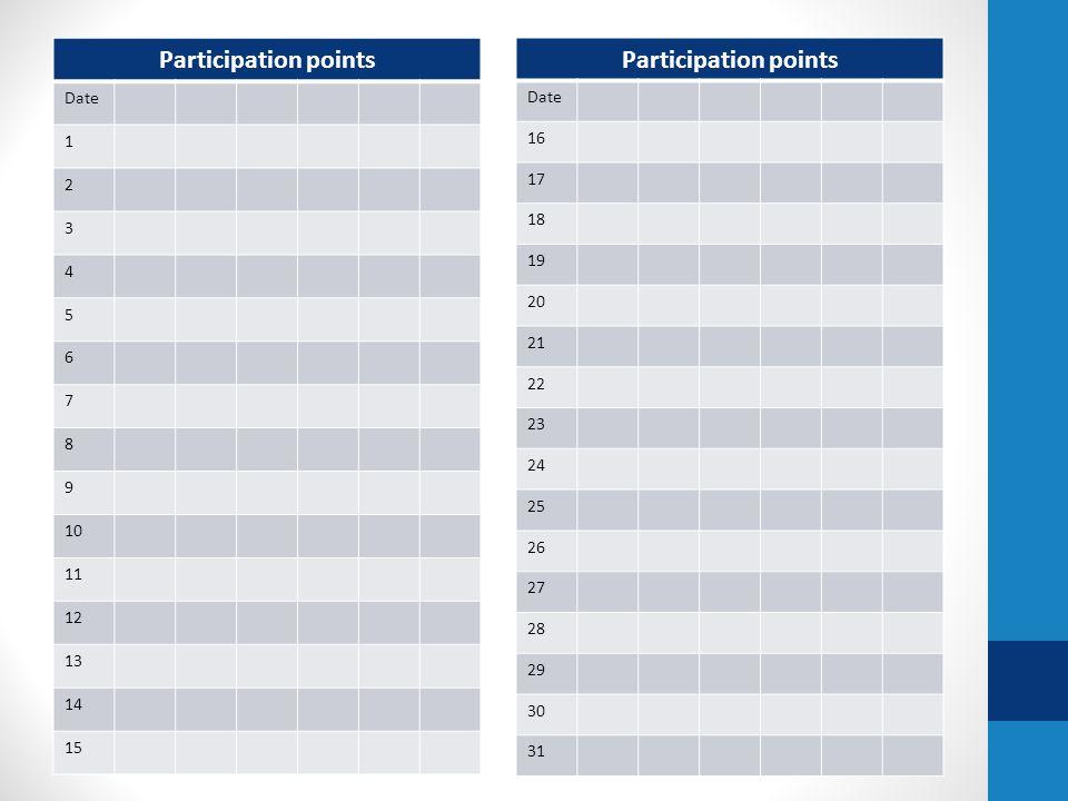 Participation points Date 1 2 3 4 5 6 7 8 9 10 11 12 13 14 15 Participation points Date 16 17 18 19 20 21 22 23 24 25 26 27 28 29 30 31