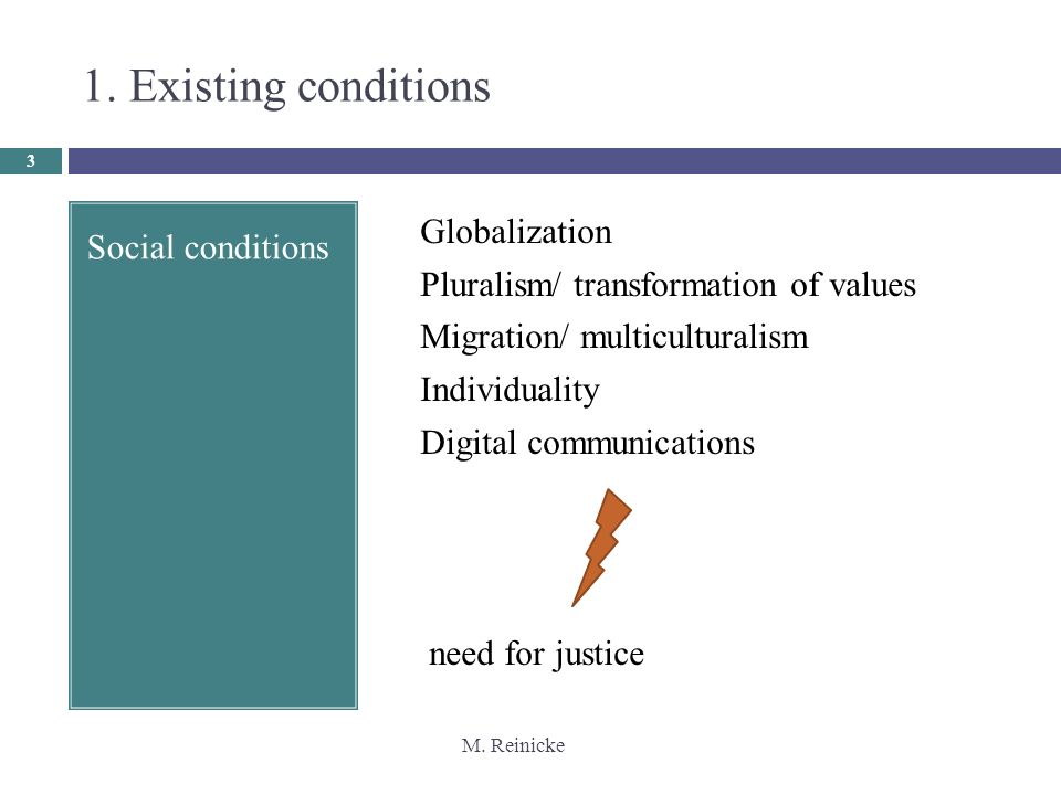 M. Reinicke 3 Social conditions Globalization Pluralism/ transformation of values Migration/ multiculturalism Individuality Digital communications nee