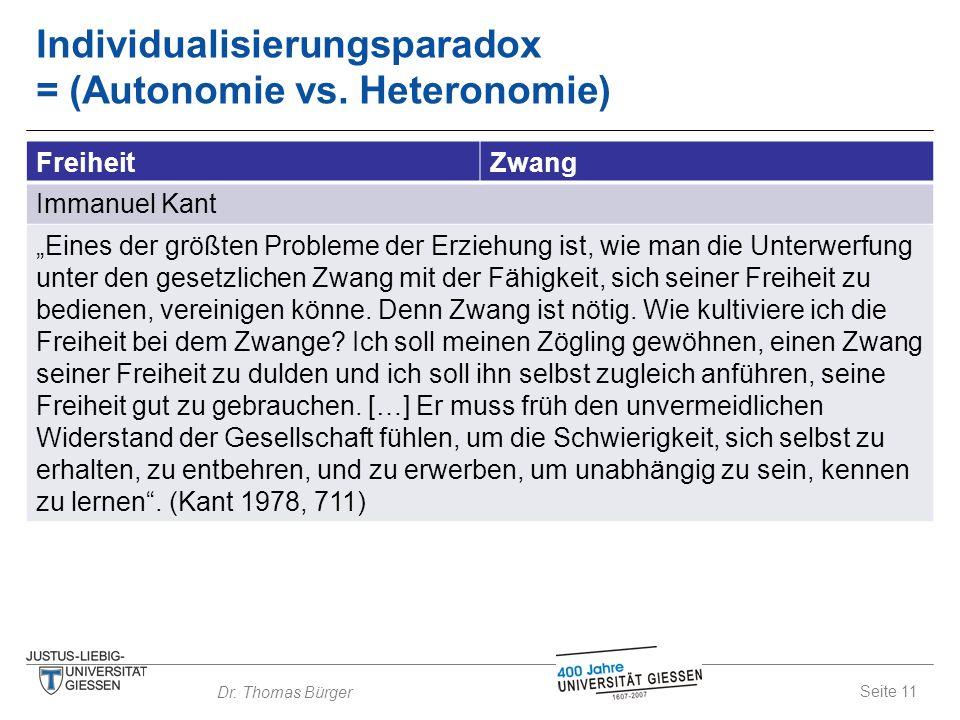 """Seite 11 Dr. Thomas Bürger Individualisierungsparadox = (Autonomie vs. Heteronomie) FreiheitZwang Immanuel Kant """"Eines der größten Probleme der Erzieh"""