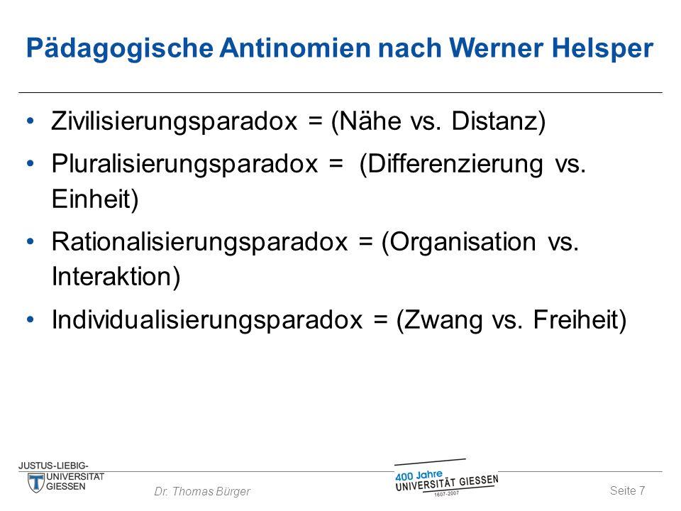 Seite 7 Dr. Thomas Bürger Pädagogische Antinomien nach Werner Helsper Zivilisierungsparadox = (Nähe vs. Distanz) Pluralisierungsparadox = (Differenzie