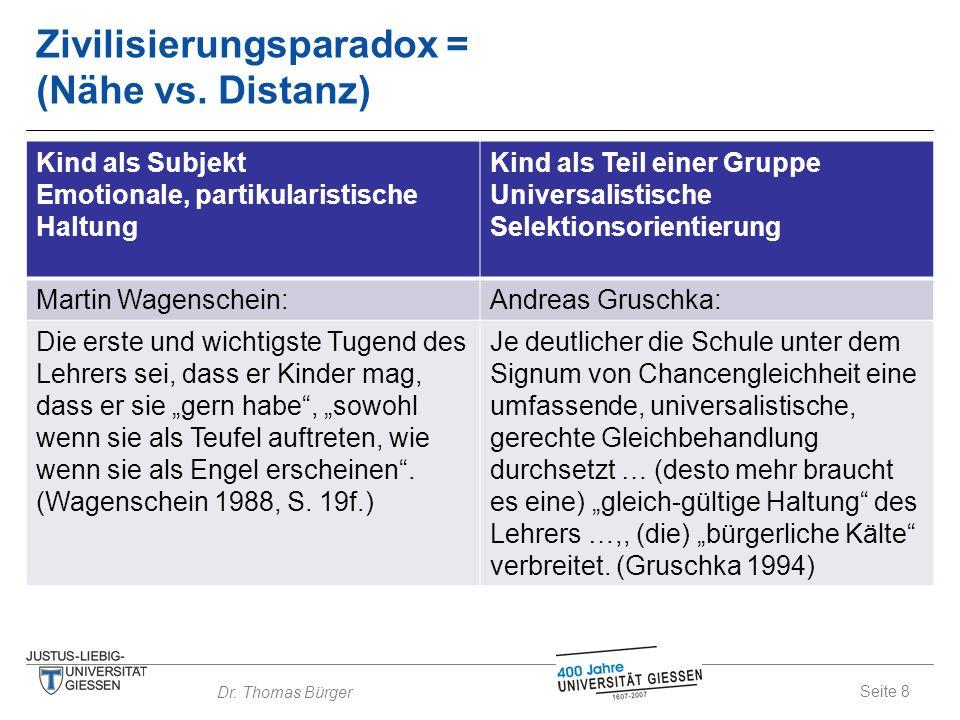 Seite 8 Dr. Thomas Bürger Zivilisierungsparadox = (Nähe vs. Distanz) Kind als Subjekt Emotionale, partikularistische Haltung Kind als Teil einer Grupp
