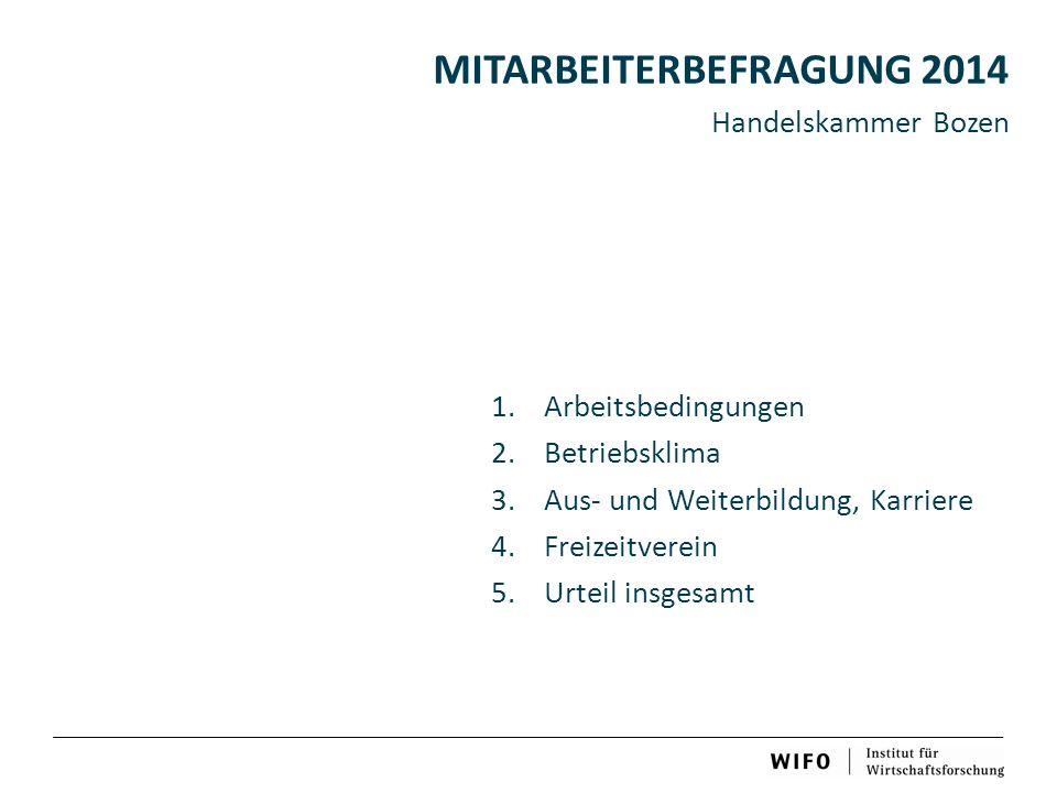 MITARBEITERBEFRAGUNG 2014 Handelskammer Bozen 1.Arbeitsbedingungen 2.Betriebsklima 3.Aus- und Weiterbildung, Karriere 4.Freizeitverein 5.Urteil insgesamt