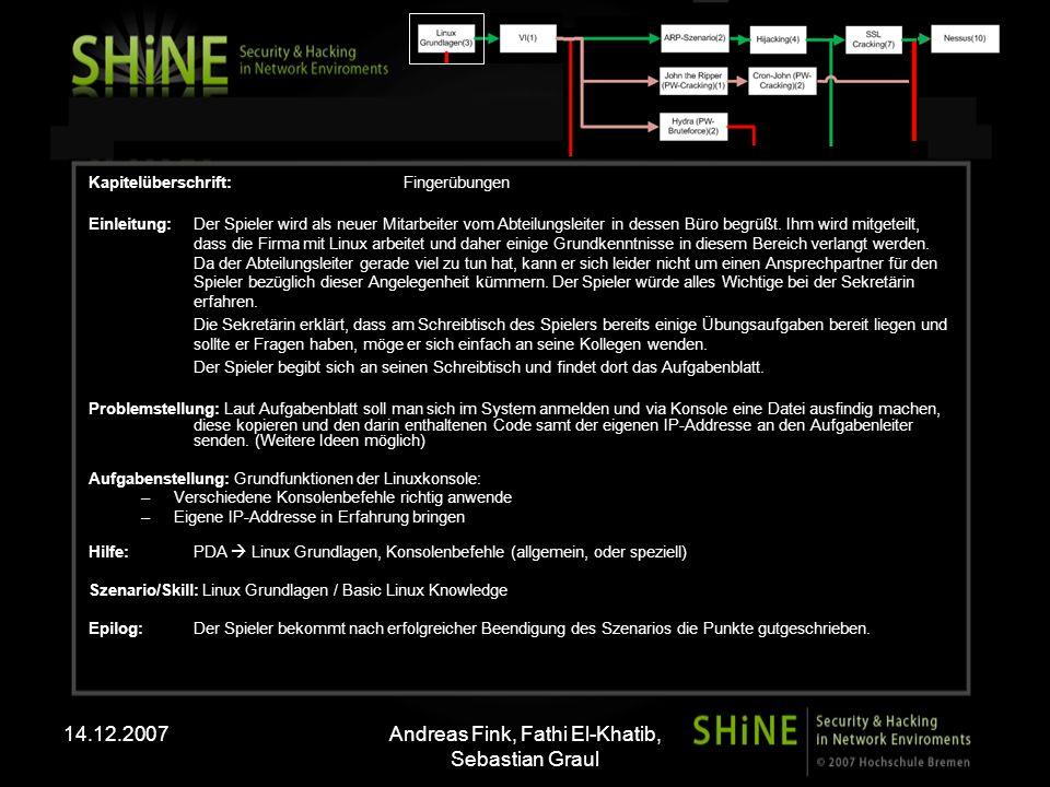 14.12.2007Andreas Fink, Fathi El-Khatib, Sebastian Graul Kapitelüberschrift: Fingerübungen Einleitung: Der Spieler wird als neuer Mitarbeiter vom Abte