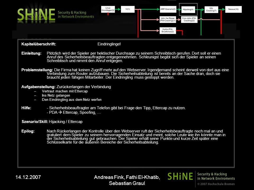 14.12.2007Andreas Fink, Fathi El-Khatib, Sebastian Graul Kapitelüberschrift: Eindringlinge! Einleitung: Plötzlich wird der Spieler per hektischer Durc