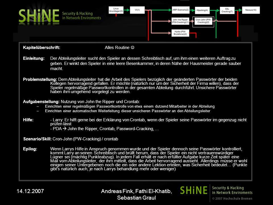 14.12.2007Andreas Fink, Fathi El-Khatib, Sebastian Graul Kapitelüberschrift: Alles Routine Einleitung: Der Abteilungsleiter sucht den Spieler an desse