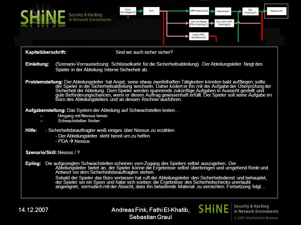 14.12.2007Andreas Fink, Fathi El-Khatib, Sebastian Graul Kapitelüberschrift: Sind wir auch sicher sicher? Einleitung: (Szenario-Vorraussetzung: Schlüs
