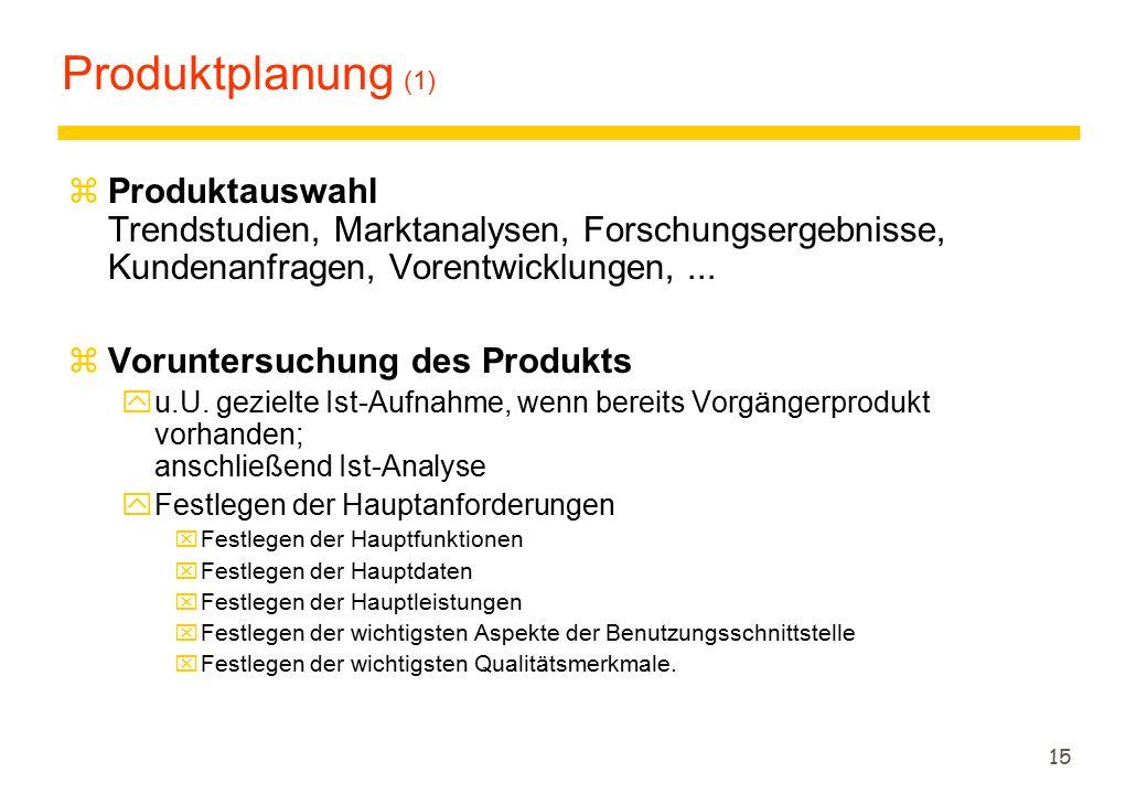 15 Produktplanung (1) zProduktauswahl Trendstudien, Marktanalysen, Forschungsergebnisse, Kundenanfragen, Vorentwicklungen,... zVoruntersuchung des Pro