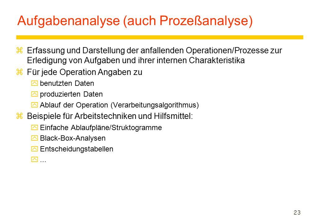 23 Aufgabenanalyse (auch Prozeßanalyse) zErfassung und Darstellung der anfallenden Operationen/Prozesse zur Erledigung von Aufgaben und ihrer internen