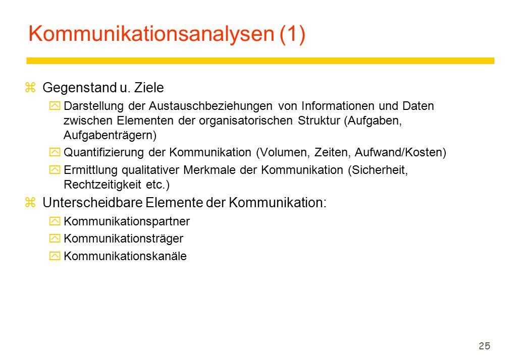 25 Kommunikationsanalysen (1) zGegenstand u. Ziele yDarstellung der Austauschbeziehungen von Informationen und Daten zwischen Elementen der organisato