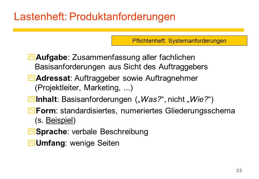 33 Lastenheft: Produktanforderungen yAufgabe: Zusammenfassung aller fachlichen Basisanforderungen aus Sicht des Auftraggebers yAdressat: Auftraggeber