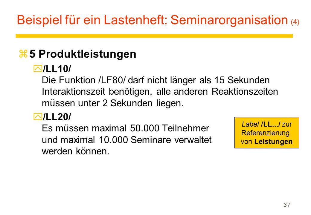 37 Beispiel für ein Lastenheft: Seminarorganisation (4) z5 Produktleistungen y/LL10/ Die Funktion /LF80/ darf nicht länger als 15 Sekunden Interaktion