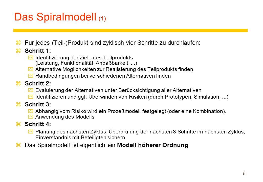 6 Das Spiralmodell (1) zFür jedes (Teil-)Produkt sind zyklisch vier Schritte zu durchlaufen: zSchritt 1: yIdentifizierung der Ziele des Teilprodukts (