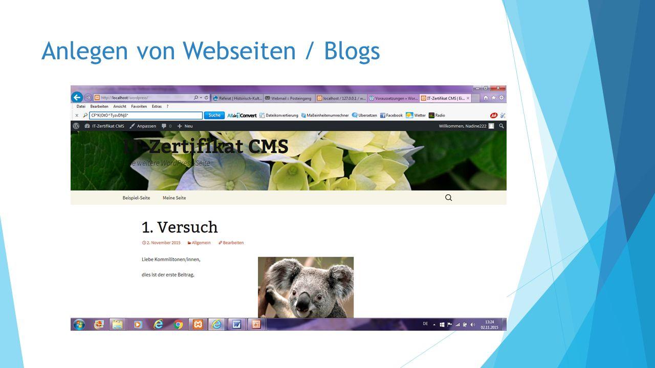 Anlegen von Webseiten / Blogs