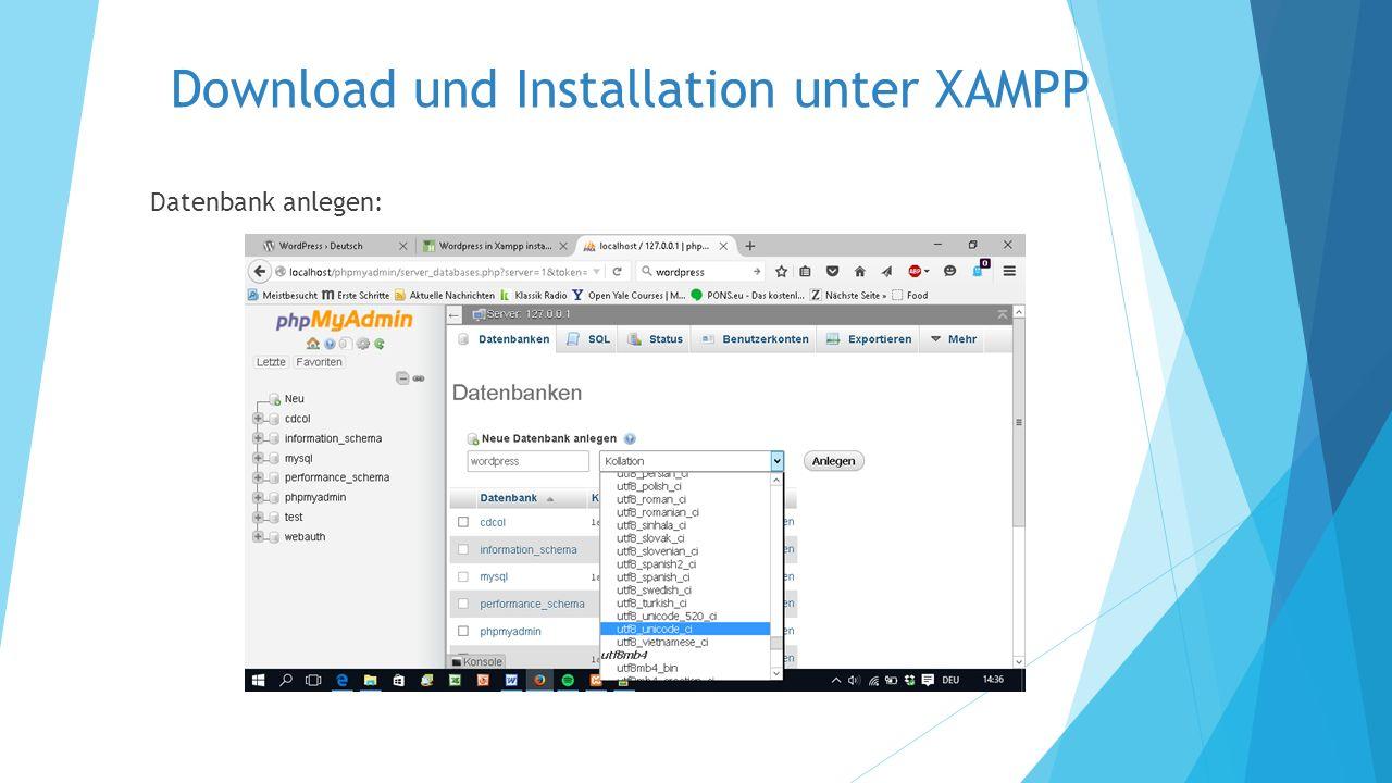 "Download und Installation unter XAMPP ""wp-config-sample.php"