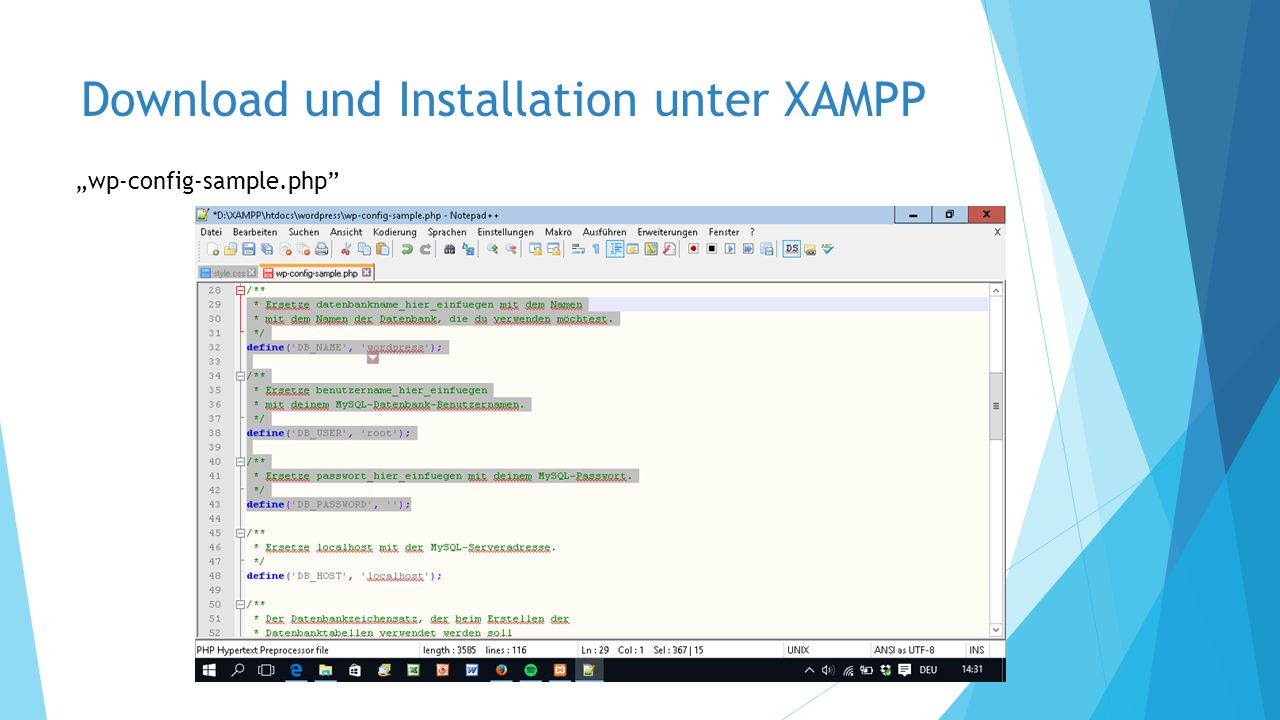 "Download und Installation unter XAMPP ""wp-config-sample.php"