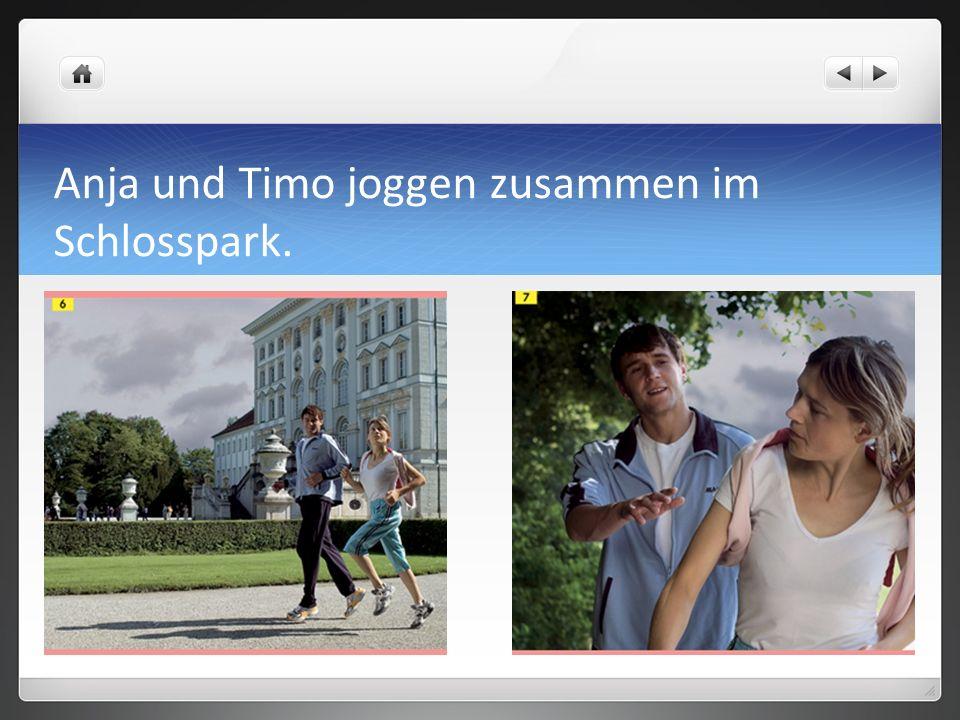 Anja und Timo joggen zusammen im Schlosspark.