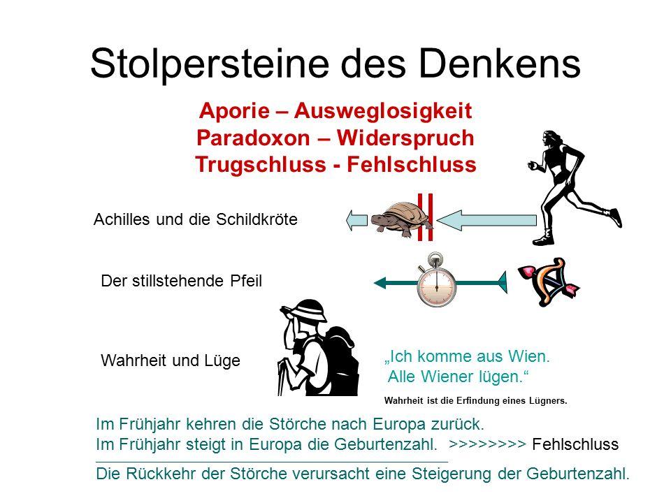 Stolpersteine des Denkens Aporie – Ausweglosigkeit Paradoxon – Widerspruch Trugschluss - Fehlschluss Achilles und die Schildkröte Der stillstehende Pf