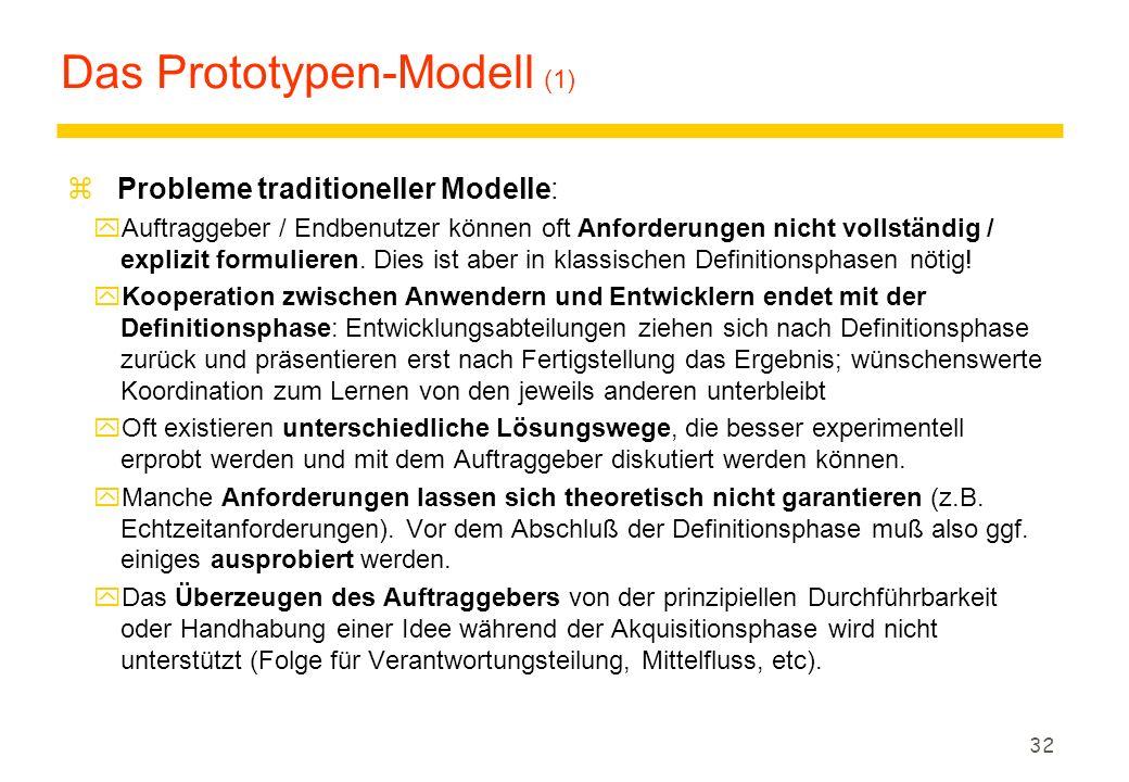 31 Das V-Modell: Bewertung (3) z Vorteile yIntegrierte, detaillierte Beschreibung von Systemerstellung, Qualitätssicherung, Konfigurationsmanagement u