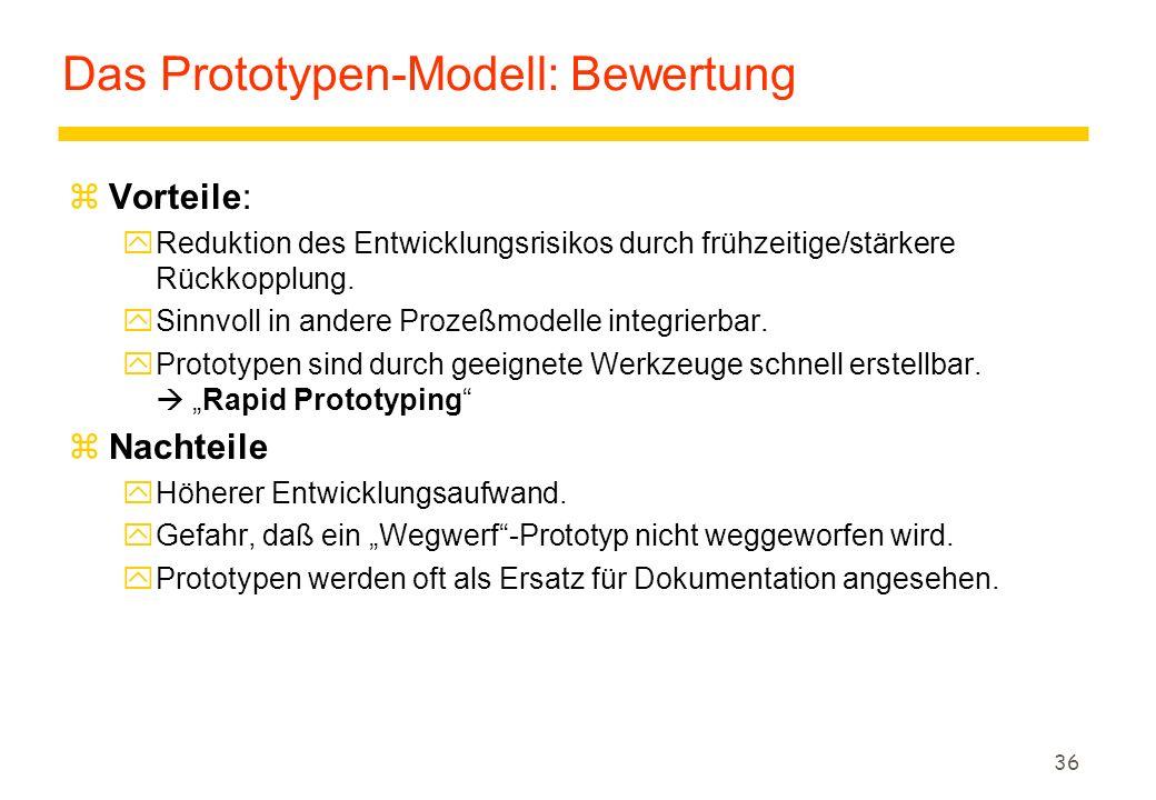 35 Das Prototypen-Modell (4) zEin fertiges Software-Produkt besteht aus vielen Komponenten und Ebenen. zUnterscheidung zwischen horizontalen und verti