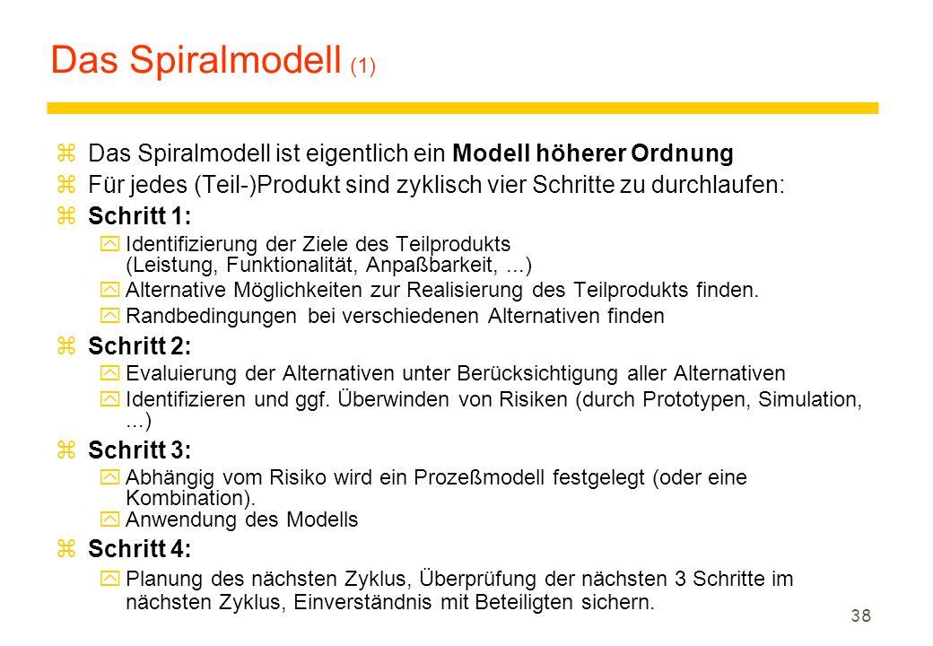 37 Projektetablierung Das evolutionäre/inkrementelle Modell zBeobachtung: Software-(Weiter) Entwicklung unterliegt Änderungen zLernen zwischen Entwick