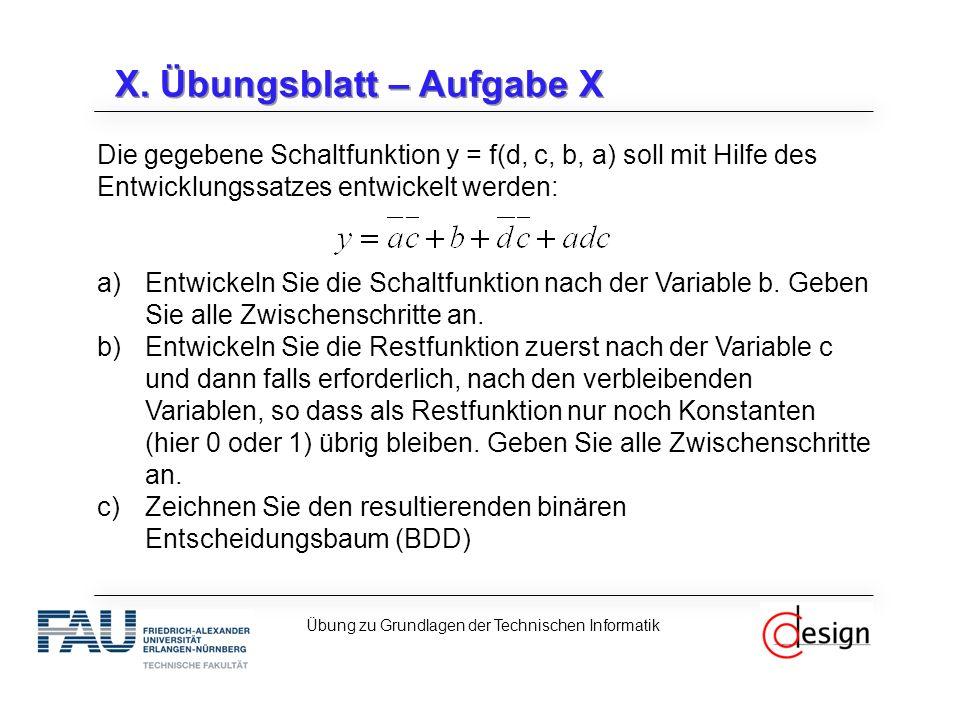 X. Übungsblatt – Aufgabe X Die gegebene Schaltfunktion y = f(d, c, b, a) soll mit Hilfe des Entwicklungssatzes entwickelt werden: a)Entwickeln Sie die
