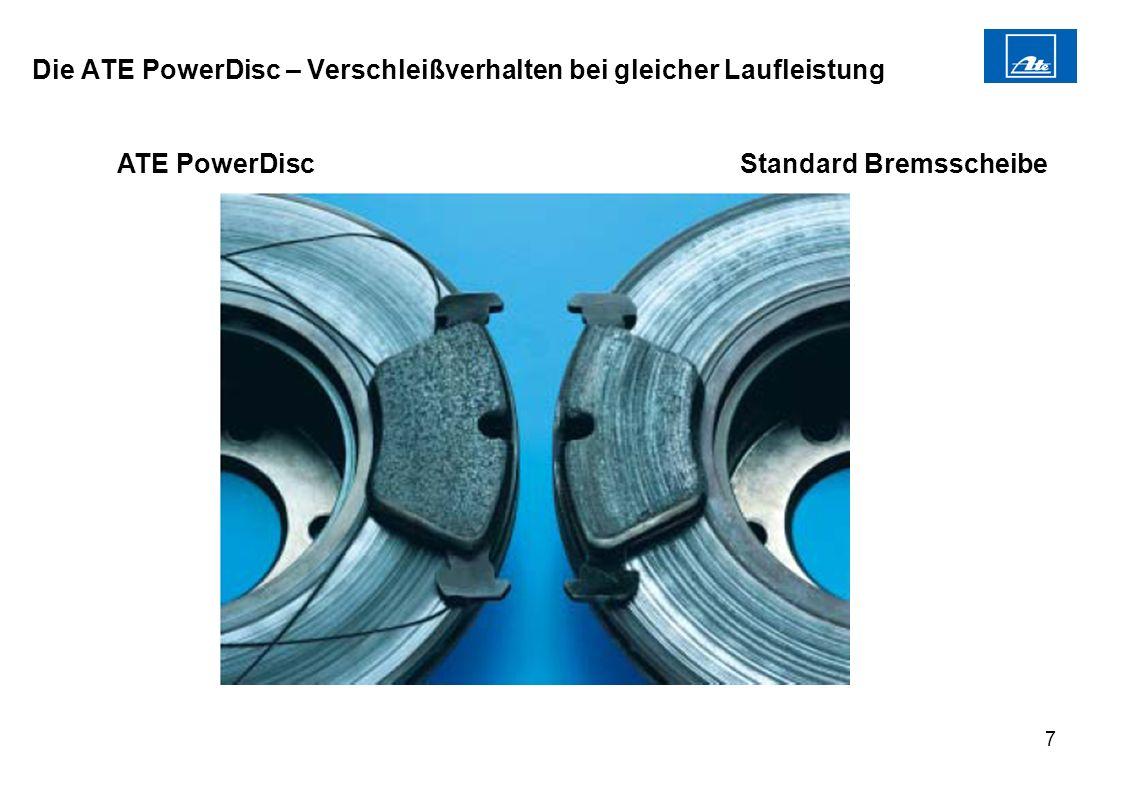 7 Die ATE PowerDisc – Verschleißverhalten bei gleicher Laufleistung ATE PowerDiscStandard Bremsscheibe