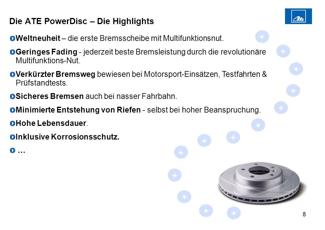 8 Weltneuheit – die erste Bremsscheibe mit Multifunktionsnut. Geringes Fading - jederzeit beste Bremsleistung durch die revolutionäre Multifunktions-N