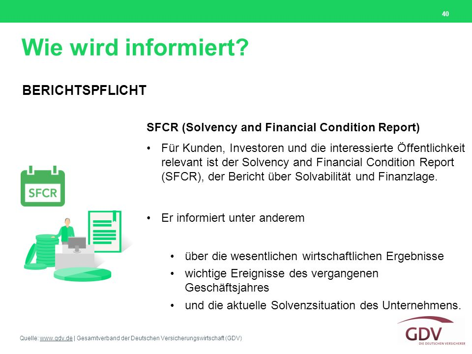 Quelle: www.gdv.de | Gesamtverband der Deutschen Versicherungswirtschaft (GDV)www.gdv.de Wie wird informiert? 40 SFCR (Solvency and Financial Conditio