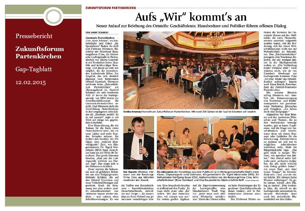 Pressebericht Zukunftsforum Partenkirchen Gap-Tagblatt 12.02.2015