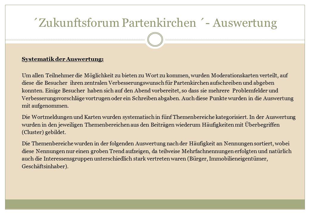 ´Zukunftsforum Partenkirchen ´- Auswertung Systematik der Auswertung: Um allen Teilnehmer die Möglichkeit zu bieten zu Wort zu kommen, wurden Moderati