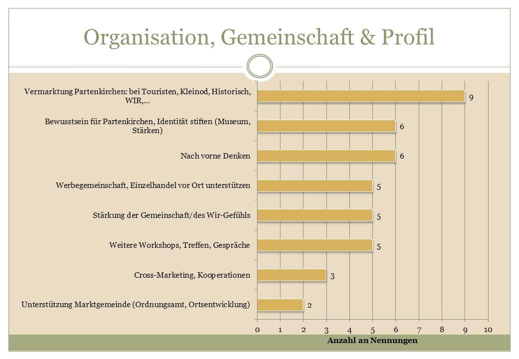 Organisation, Gemeinschaft & Profil