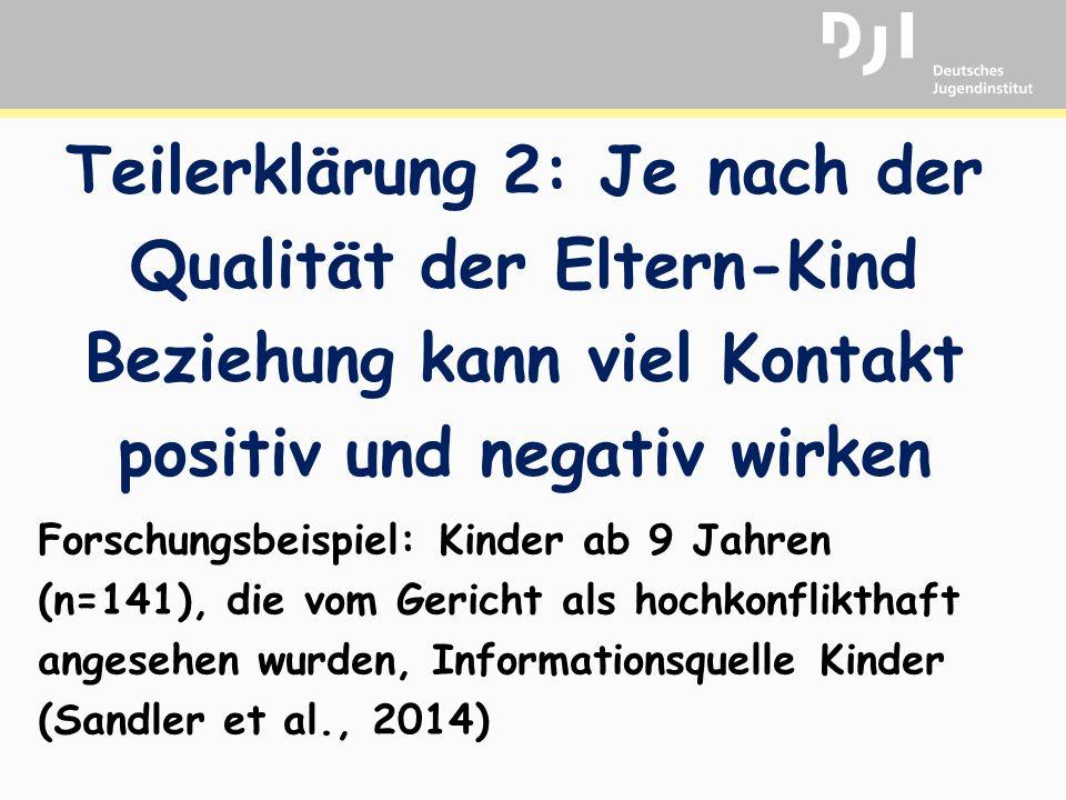 Teilerklärung 2: Je nach der Qualität der Eltern-Kind Beziehung kann viel Kontakt positiv und negativ wirken Forschungsbeispiel: Kinder ab 9 Jahren (n