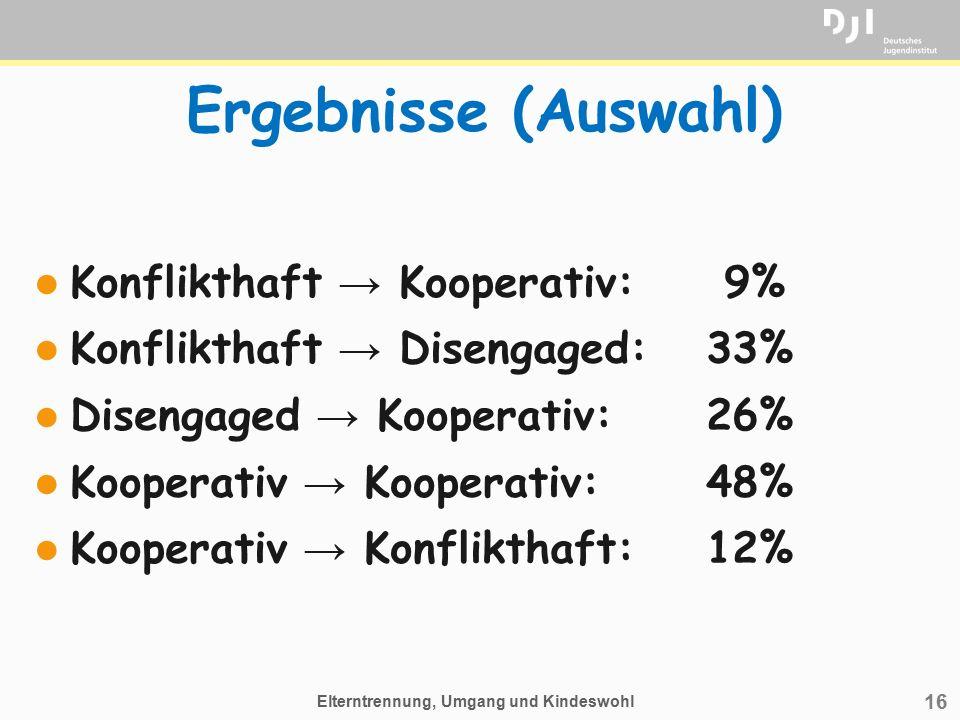 16 Ergebnisse (Auswahl) l Konflikthaft → Kooperativ: 9% l Konflikthaft → Disengaged:33% l Disengaged → Kooperativ:26% l Kooperativ → Kooperativ:48% l