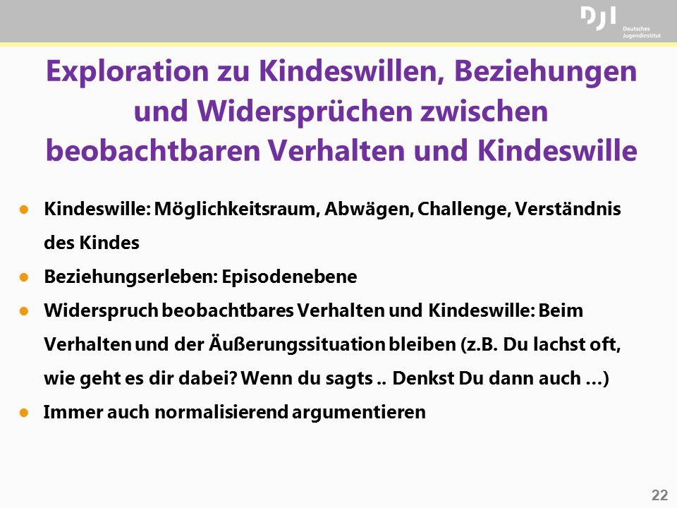 22 Exploration zu Kindeswillen, Beziehungen und Widersprüchen zwischen beobachtbaren Verhalten und Kindeswille l Kindeswille: Möglichkeitsraum, Abwäge