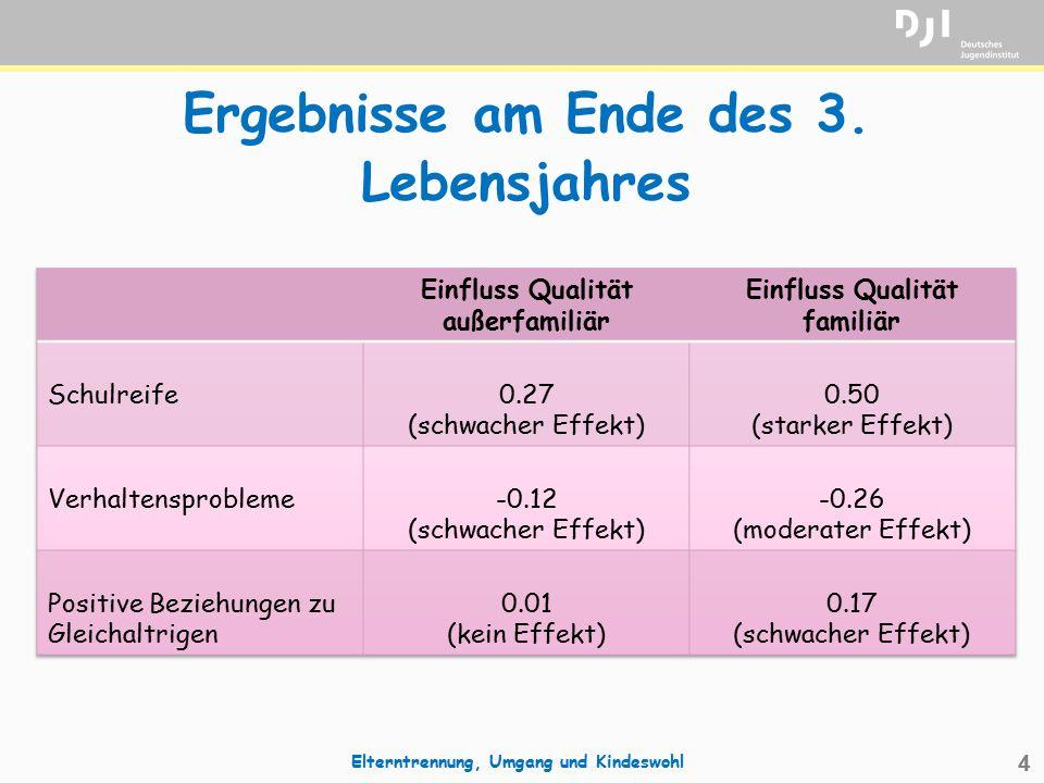 4 Ergebnisse am Ende des 3. Lebensjahres Elterntrennung, Umgang und Kindeswohl