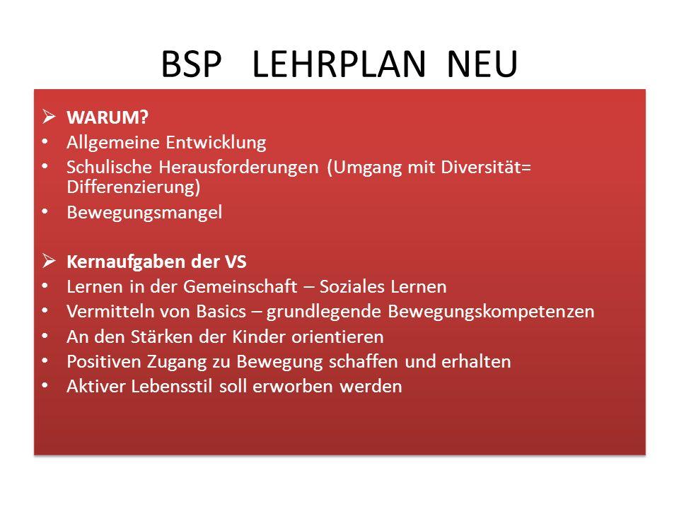 BSP LEHRPLAN NEU  Rahmenlehrplan 1. – 4. Schulstufe; Gliederung nach Erfahrens- und Lernbereichen